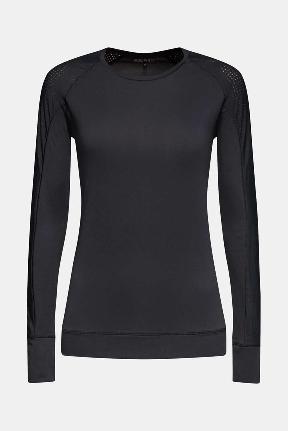 Stretchy long sleeve top with mesh sleeves, E-DRY, BLACK, detail image number 5
