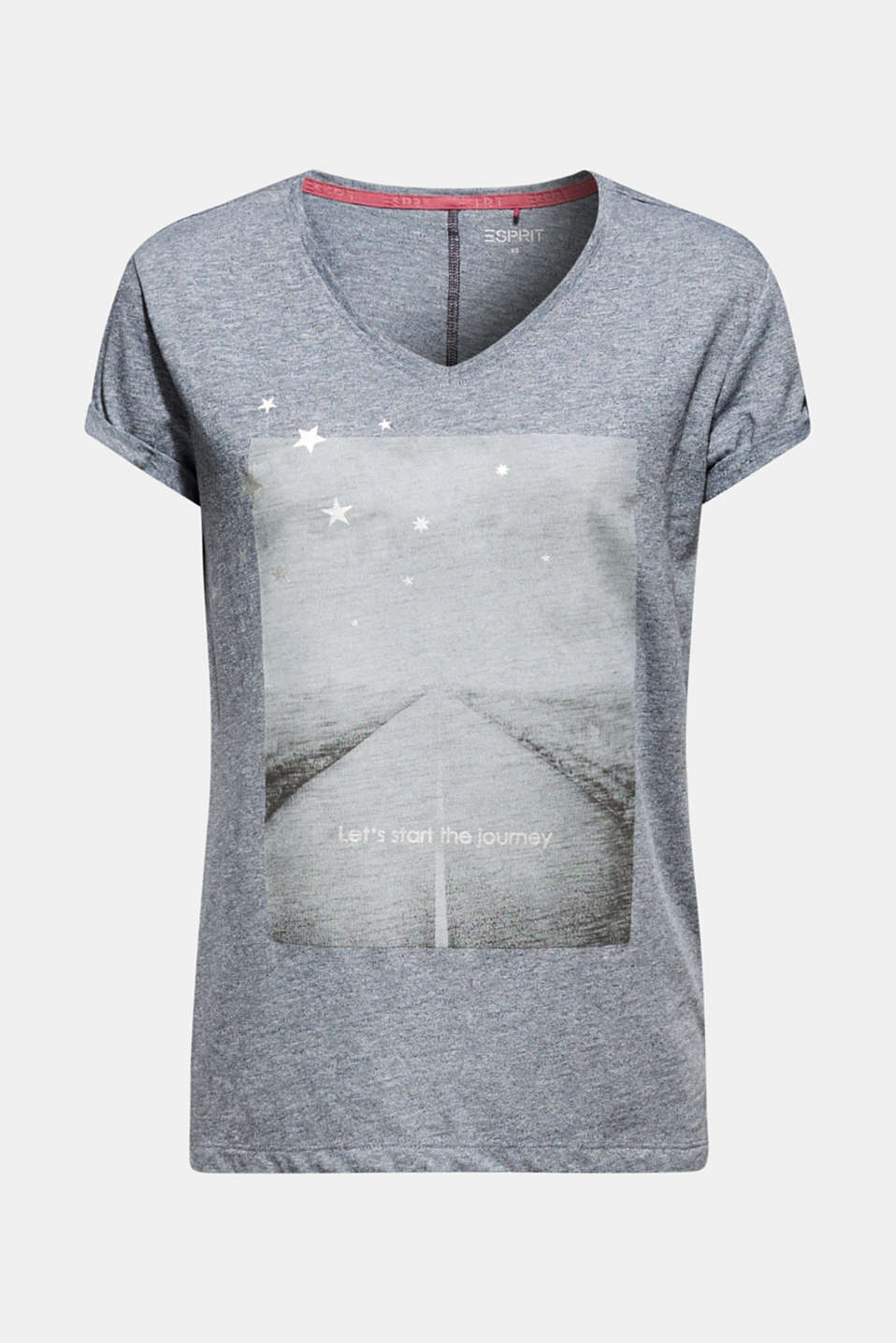 Melange T-shirt with a shiny print, ANTHRACITE 2, detail image number 5