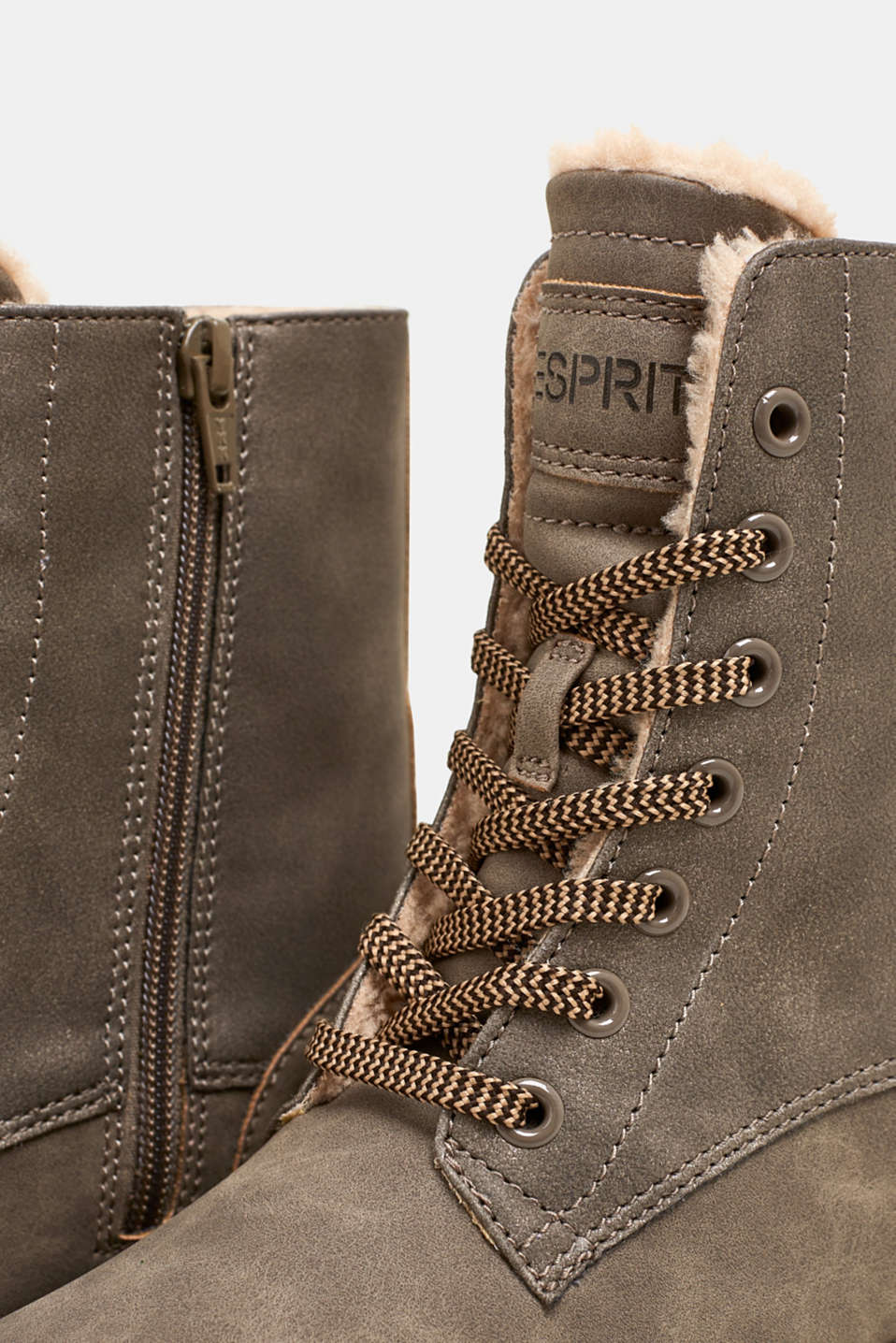 Lace-up boots made of rustic faux leather, TAUPE, detail image number 4