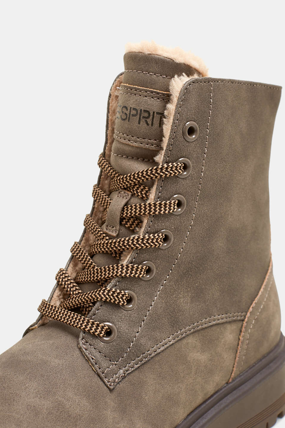 Lace-up boots made of rustic faux leather, TAUPE, detail image number 2