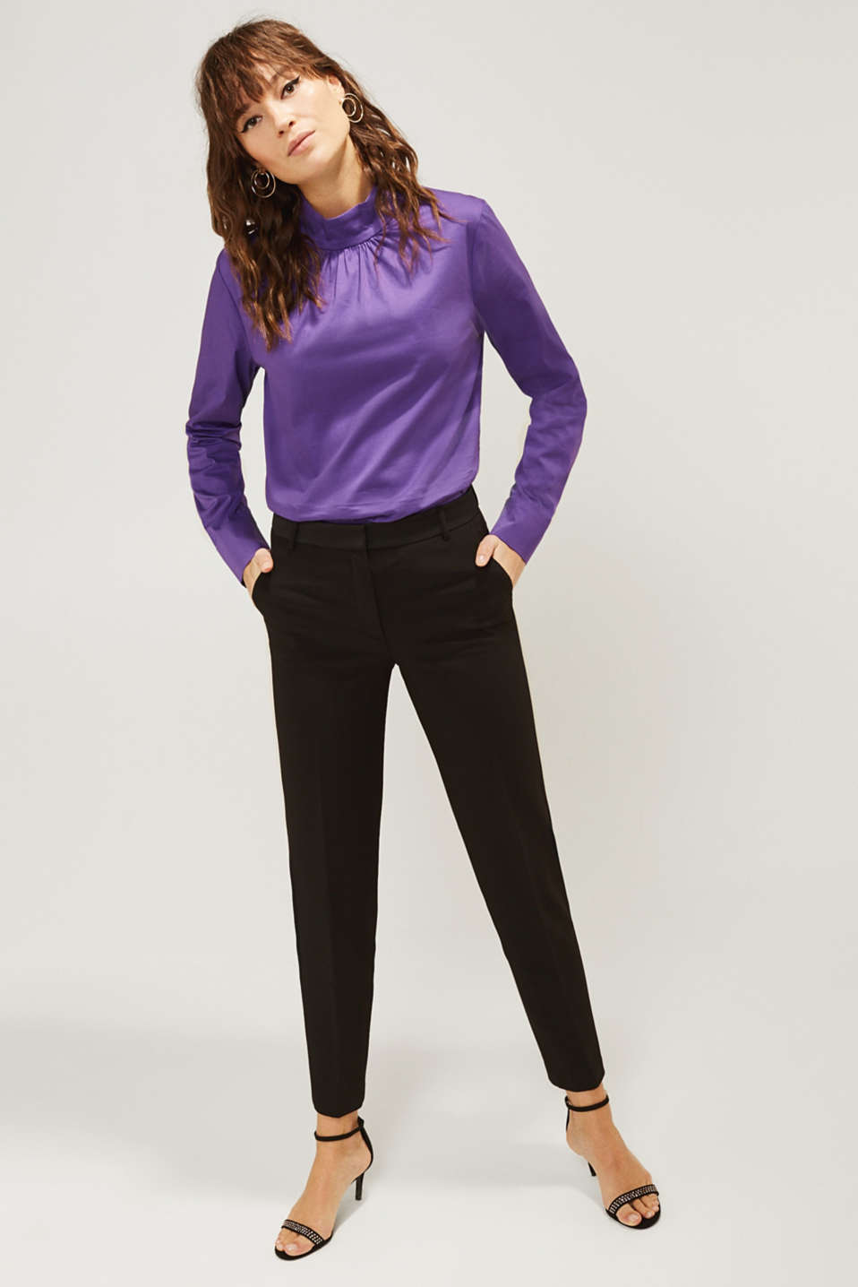 Esprit - SATIN DETAIL mix + match stretch trousers
