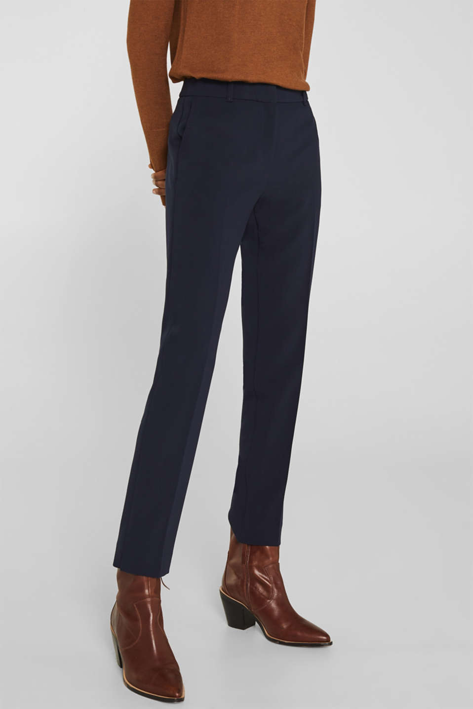 Stretch trousers with tonal stitching, NAVY, detail image number 6