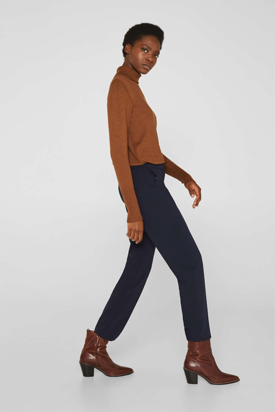 Stretch trousers with tonal stitching, NAVY, detail image number 1