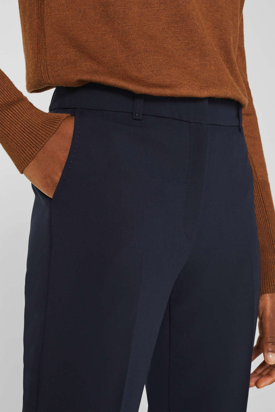 Stretch trousers with tonal stitching, NAVY, detail image number 2