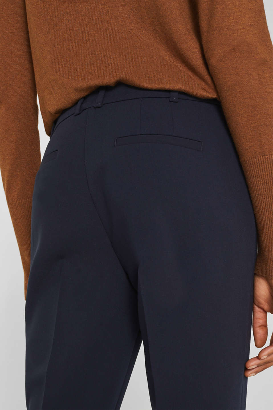 Stretch trousers with tonal stitching, NAVY, detail image number 5