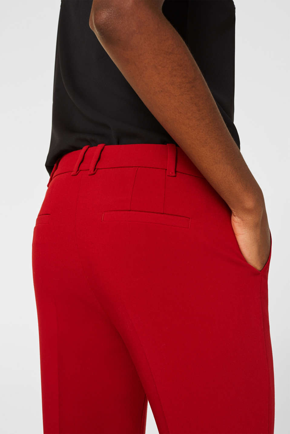 Stretch trousers with tonal stitching, DARK RED, detail image number 1