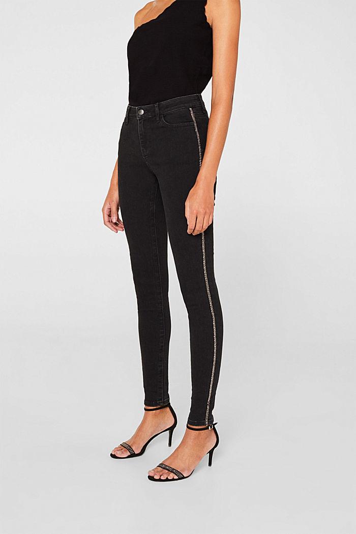 Stretch-Jeans mit Perlen-Streifen, BLACK RINSE, detail image number 5