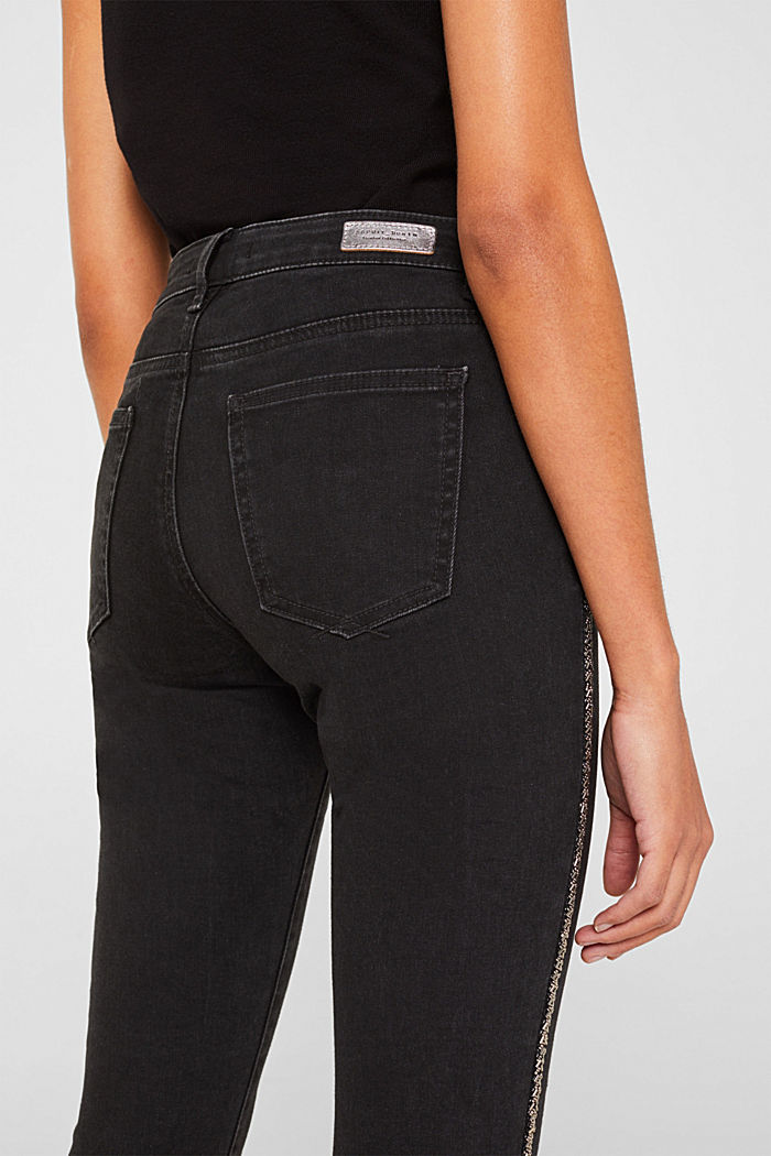 Stretch-Jeans mit Perlen-Streifen, BLACK RINSE, detail image number 2