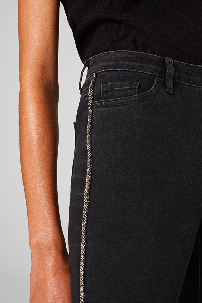Stretch-Jeans mit Perlen-Streifen, BLACK RINSE, detail image number 4