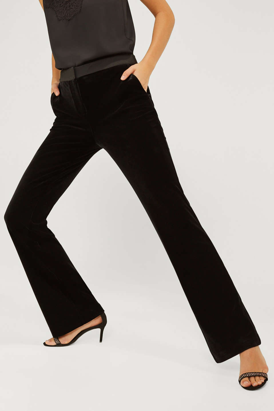 VELVET Mix + Match stretch trousers, BLACK, detail image number 5