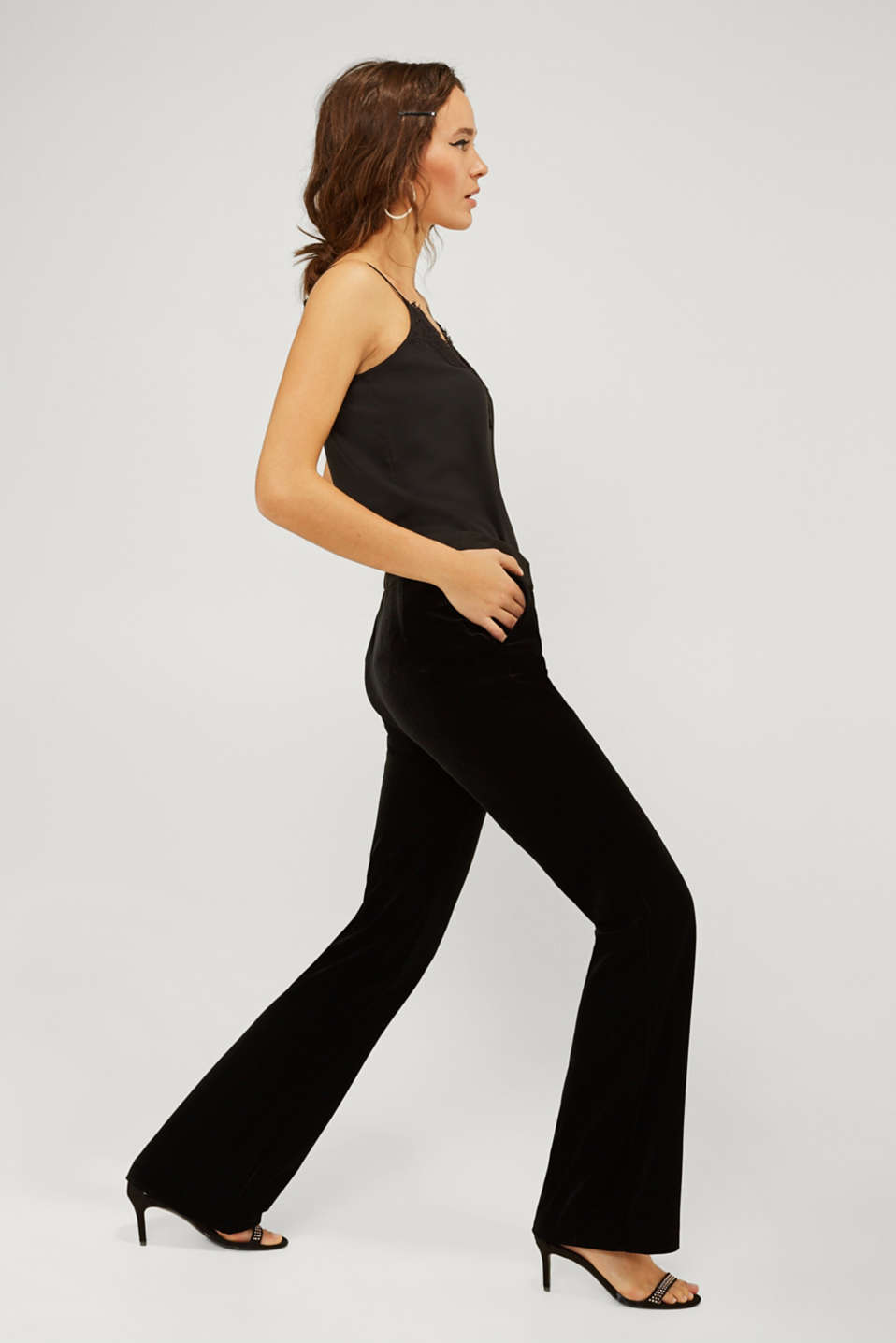 VELVET Mix + Match stretch trousers, BLACK, detail image number 1