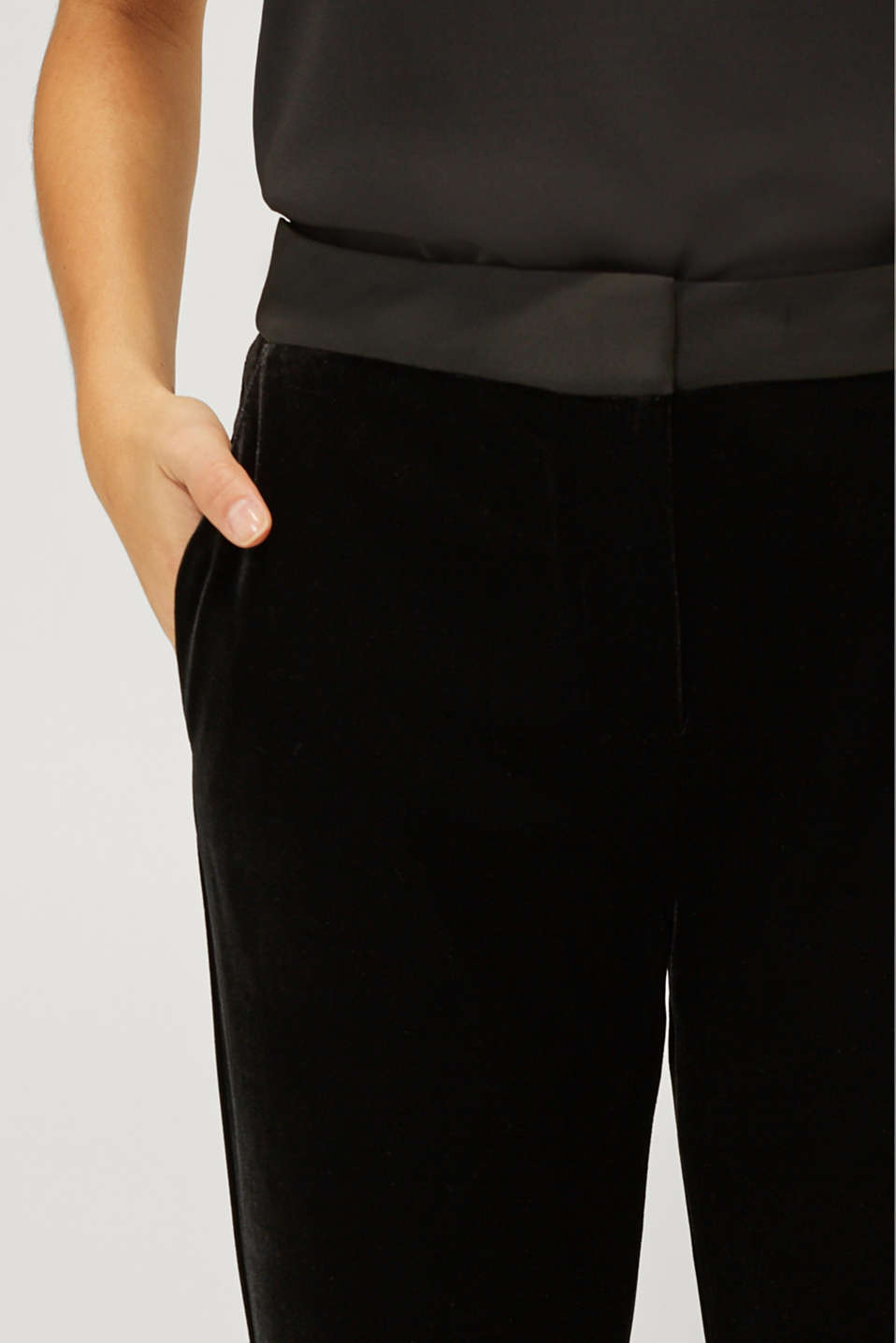 VELVET Mix + Match stretch trousers, BLACK, detail image number 2