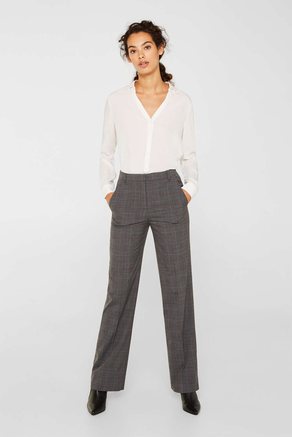 Esprit - CHECK Mix + Match stretch trousers