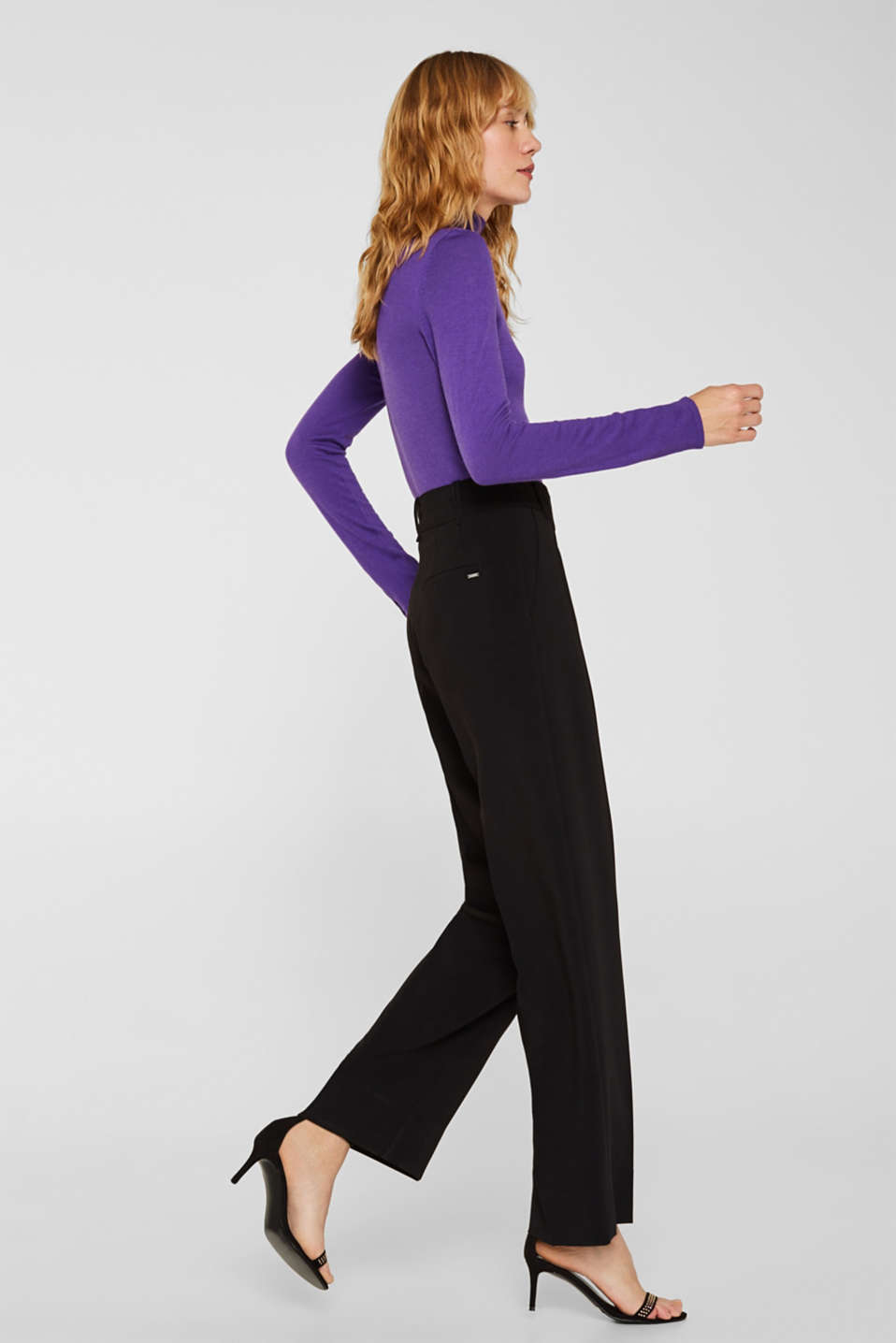 TECHNO TWILL mix + match wide stretch trousers, BLACK, detail image number 5