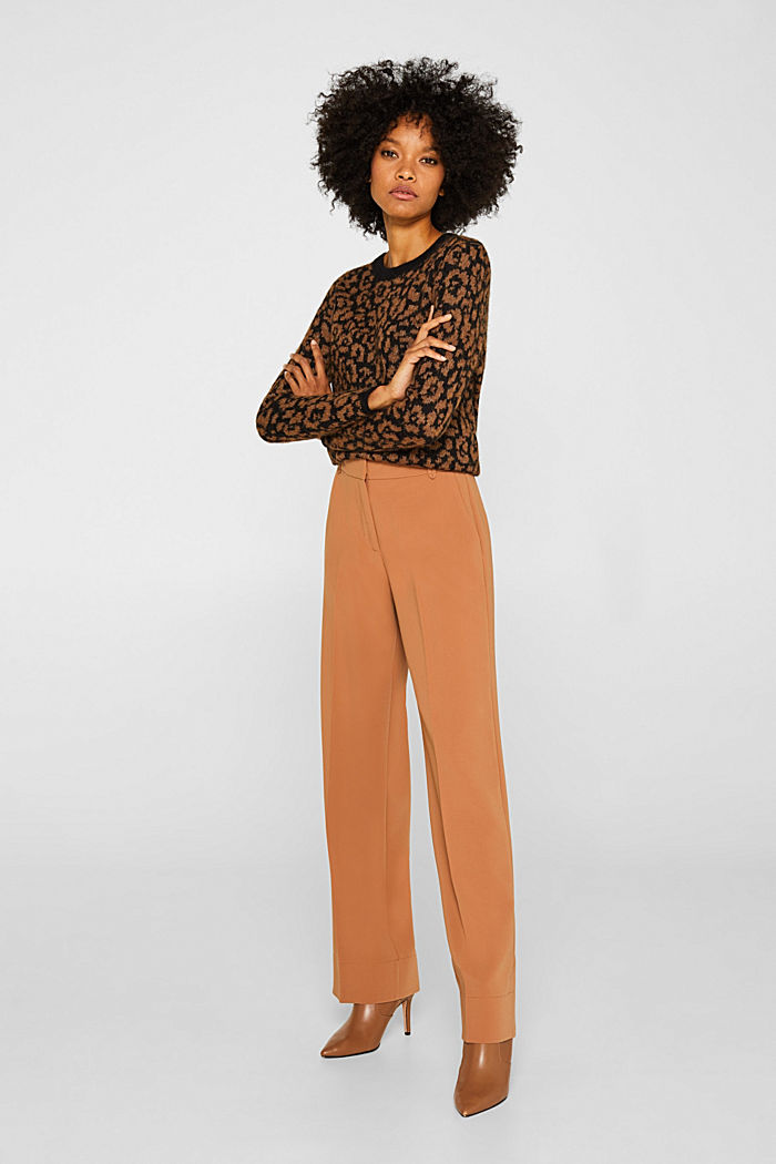TECHNO TWILL mix + match wide stretch trousers, TOFFEE, detail image number 0