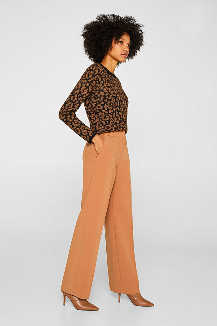 TECHNO TWILL mix + match wide stretch trousers, TOFFEE, detail image number 1
