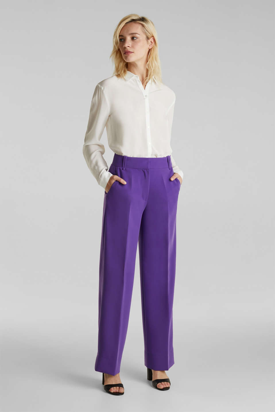 TECHNO TWILL mix + match wide stretch trousers, PURPLE, detail image number 1