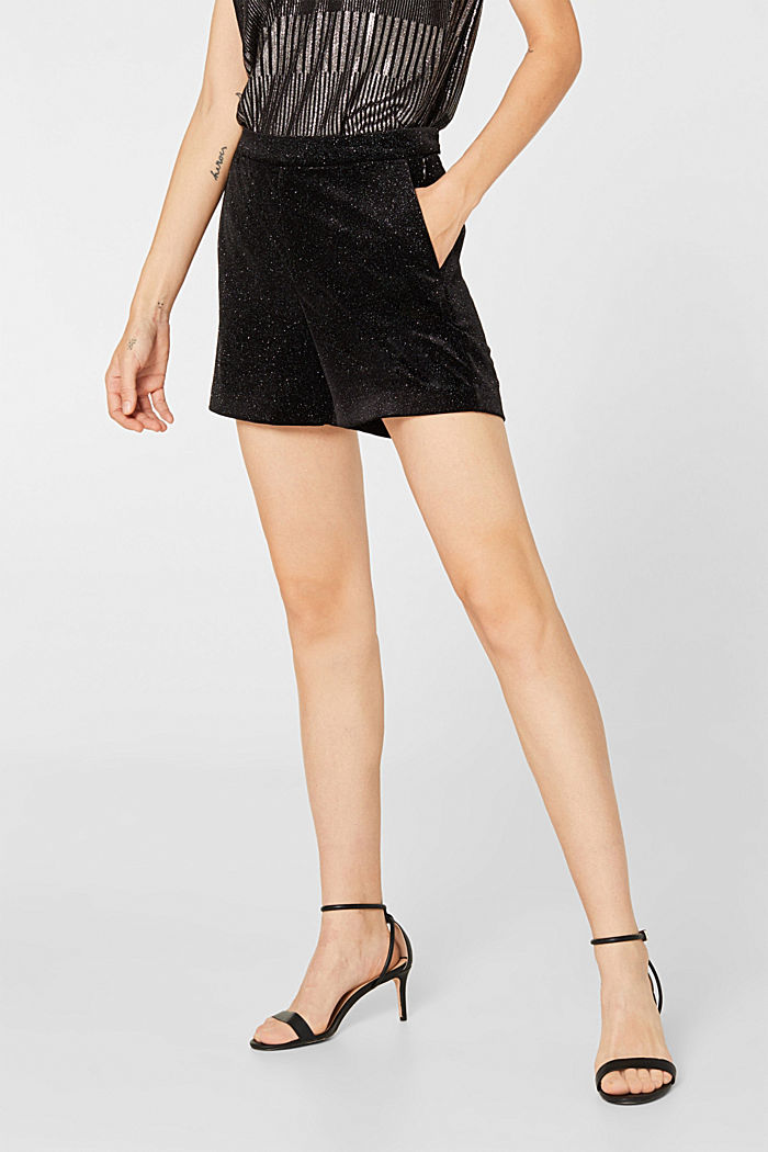 High-rise velvet shorts in a glitter look, BLACK, detail image number 6