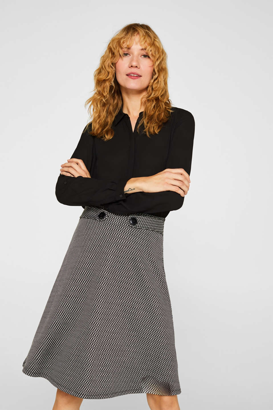 Esprit - A-line skirt made of patterned jersey
