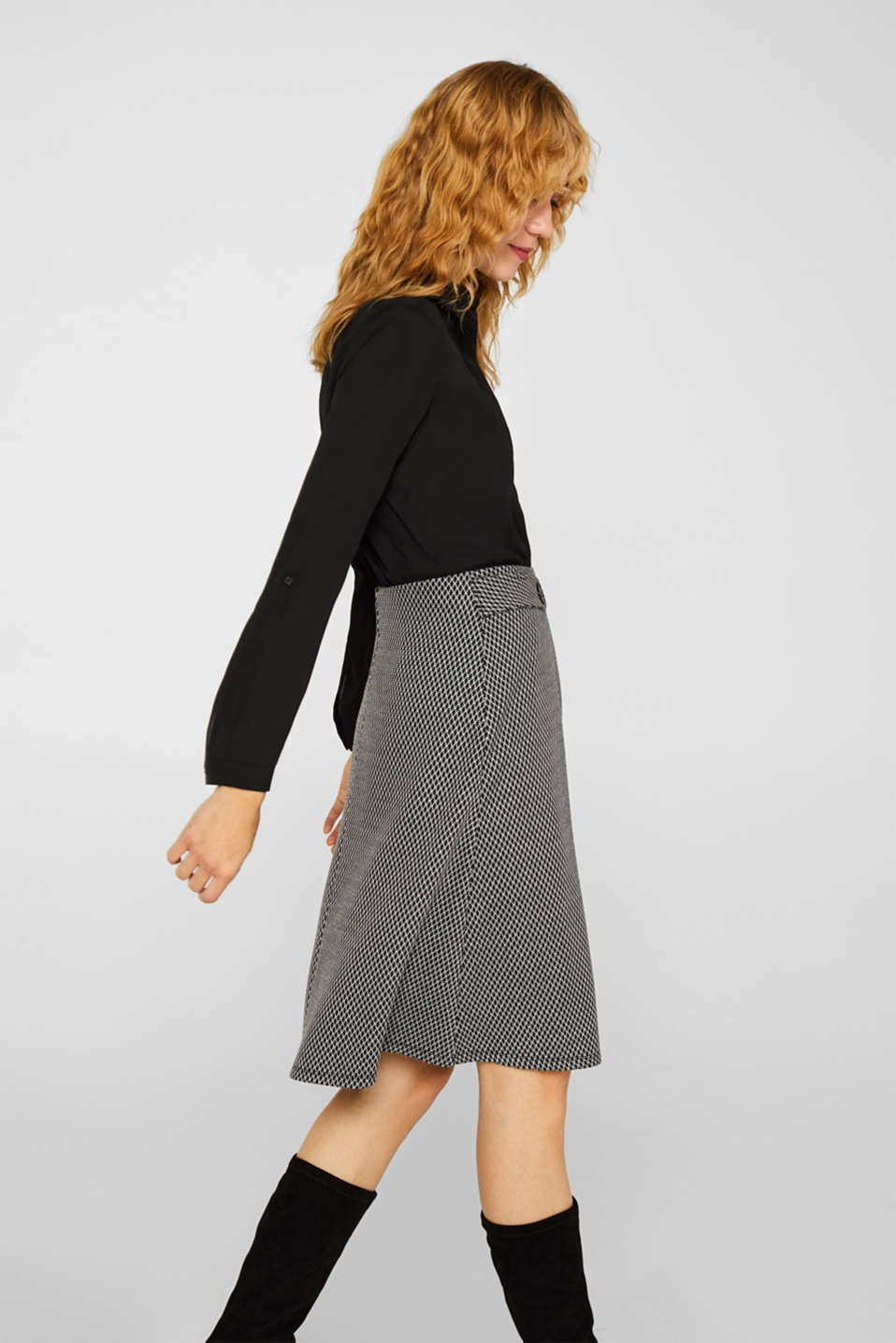 A-line skirt made of patterned jersey, GREY, detail image number 5