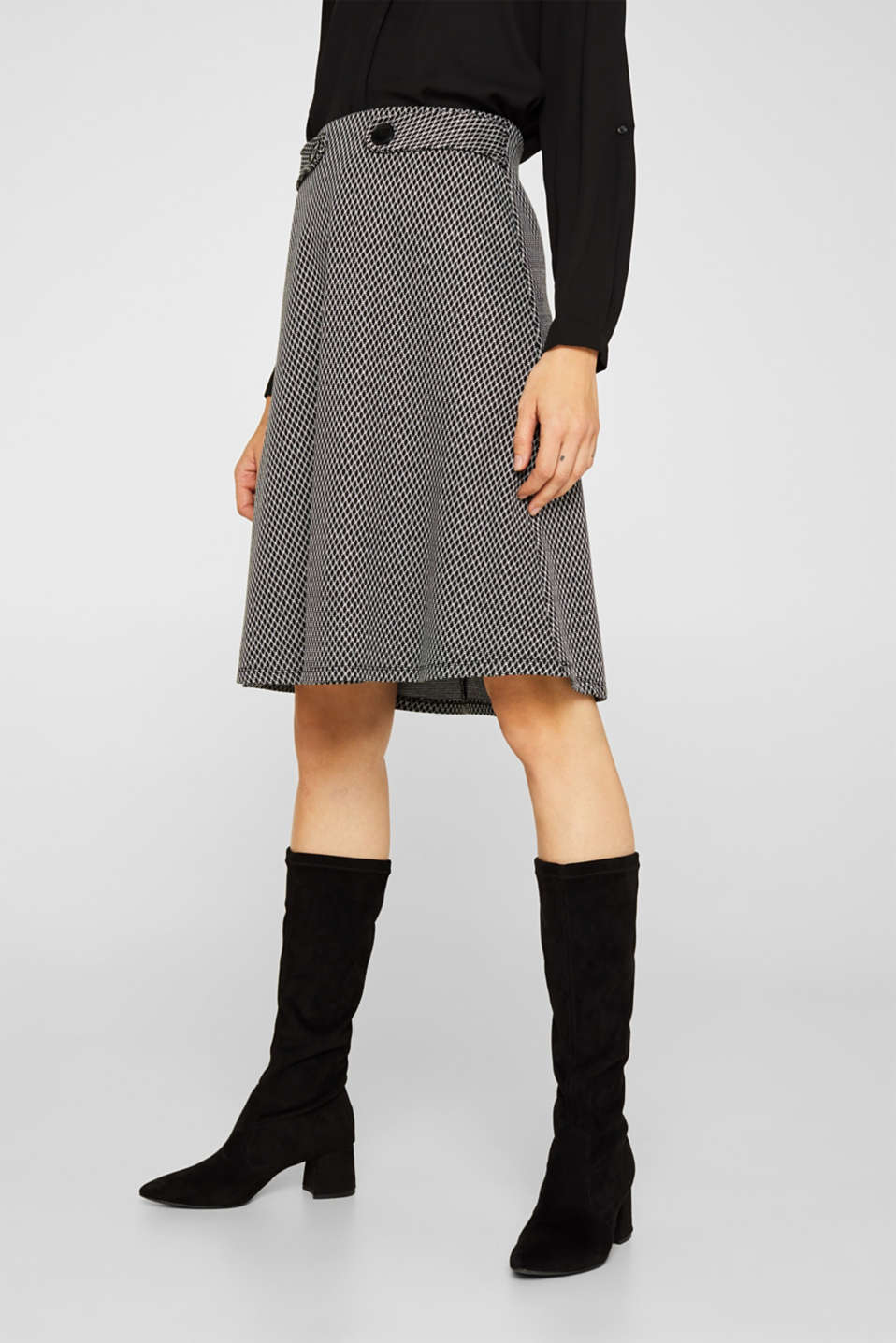 A-line skirt made of patterned jersey, GREY, detail image number 6
