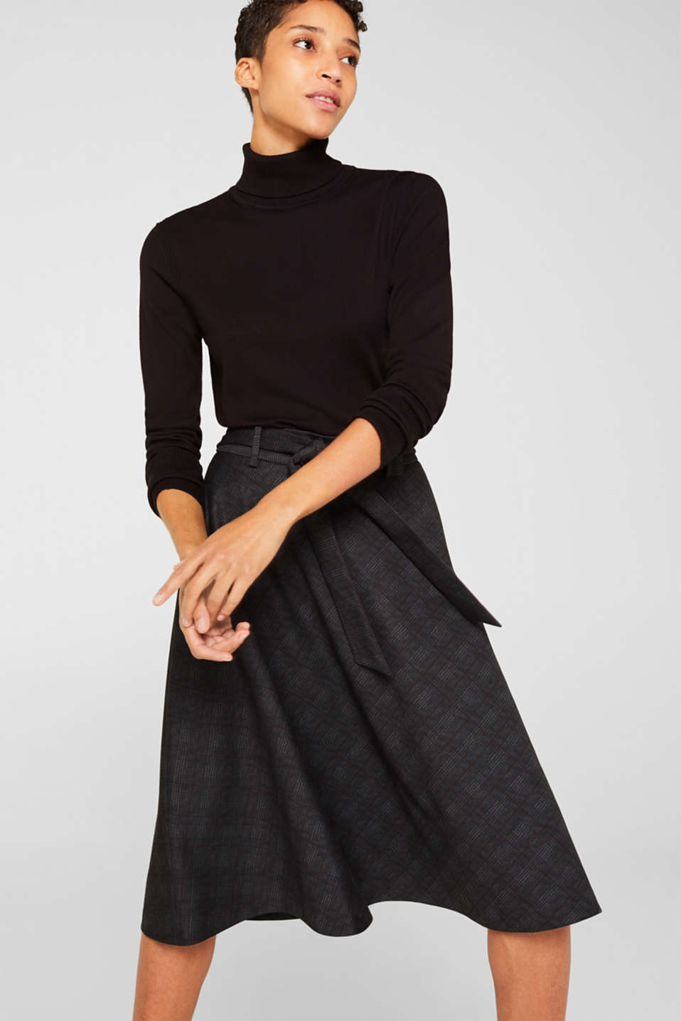 Flared Prince of Wales check midi skirt, BLACK, detail image number 0