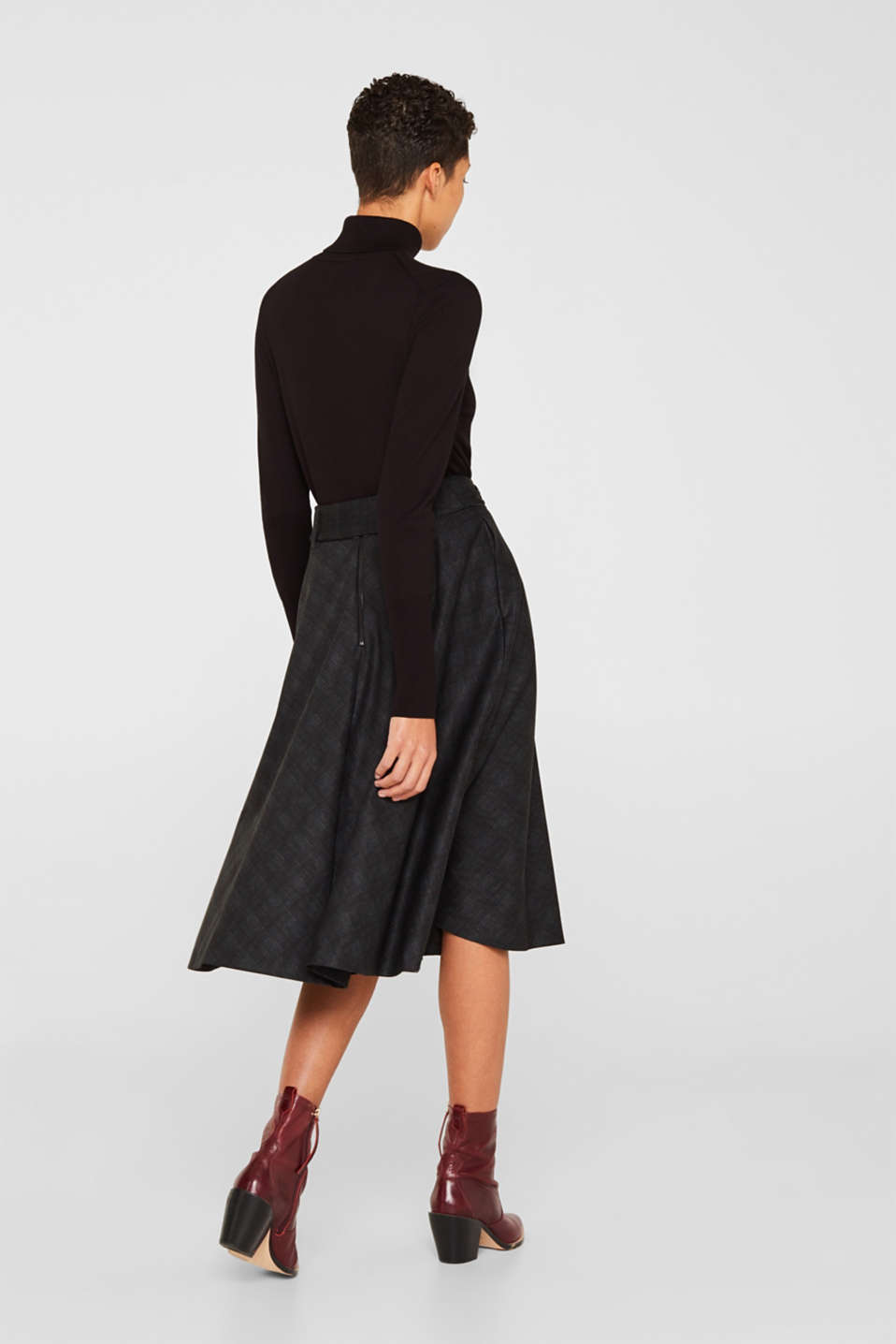 Flared Prince of Wales check midi skirt, BLACK, detail image number 3