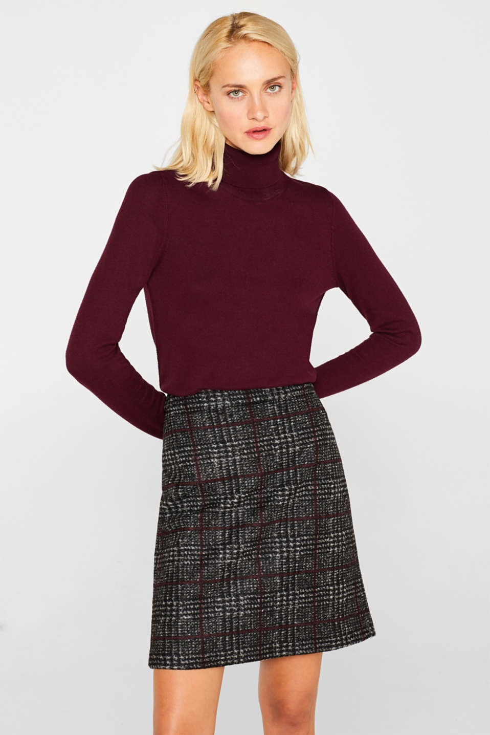 Esprit - With wool: checked skirt