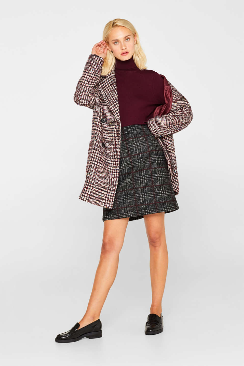 With wool: checked skirt, BLACK, detail image number 1