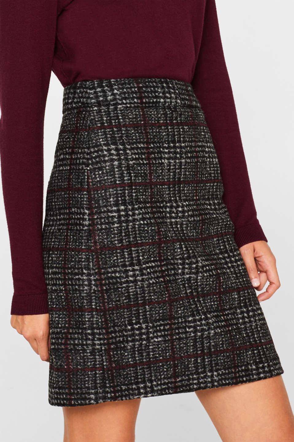 With wool: checked skirt, BLACK, detail image number 2