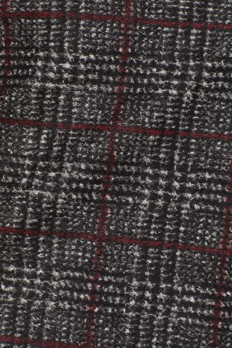 With wool: checked skirt, BLACK, detail image number 4