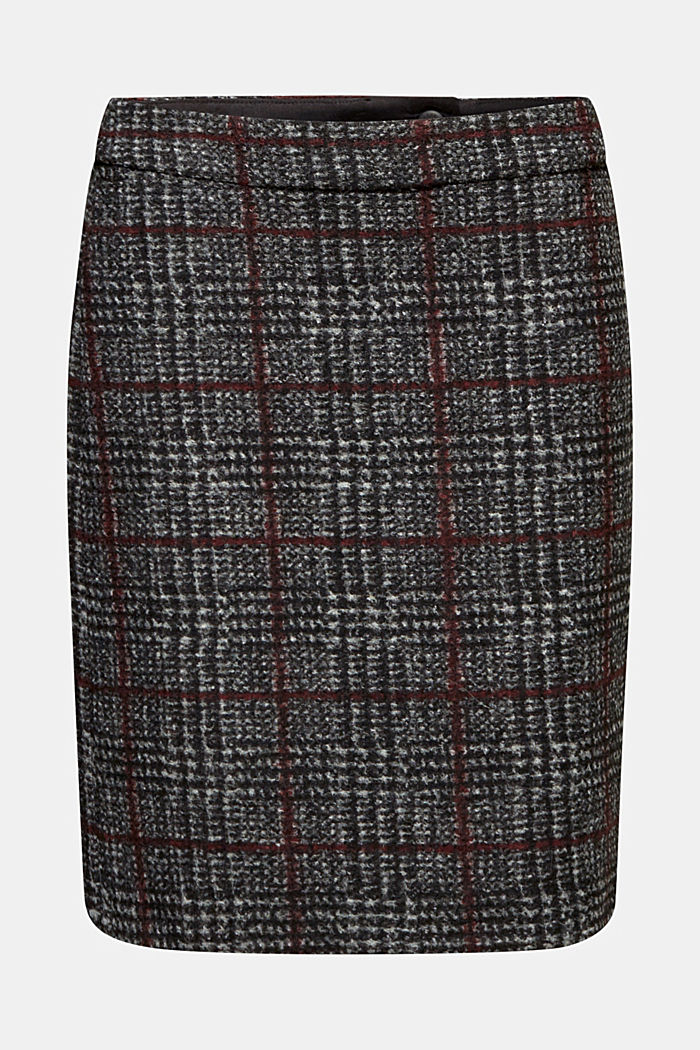 With wool: checked skirt