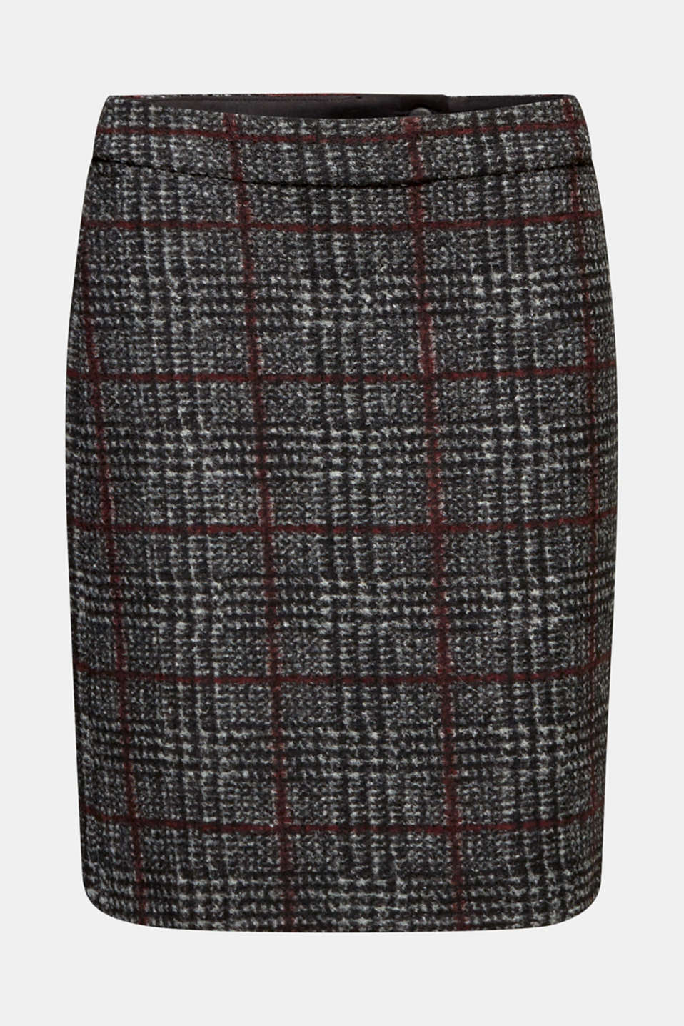With wool: checked skirt, BLACK, detail image number 6