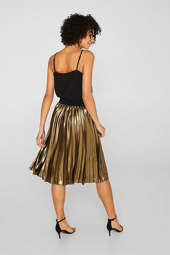 Pleated skirt in a metallic finish, GOLD, detail image number 3