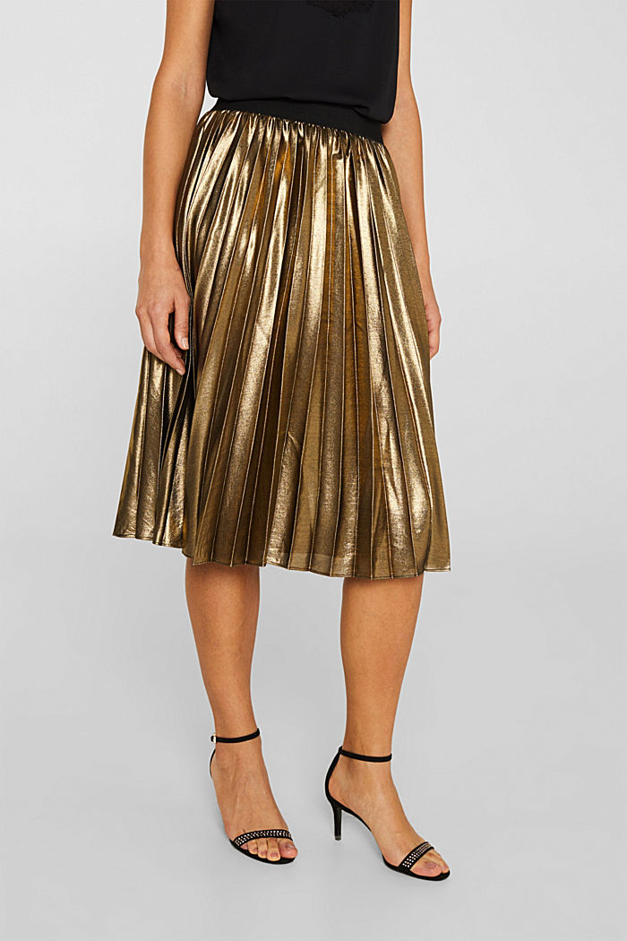 Pleated skirt in a metallic finish, GOLD, detail image number 5