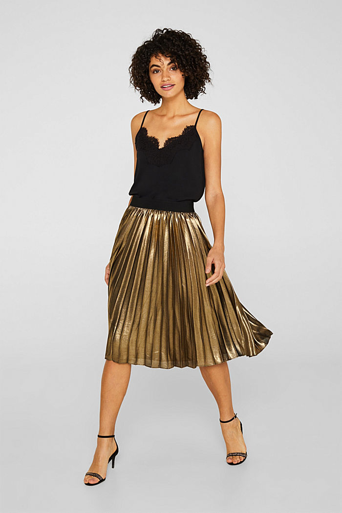 Pleated skirt in a metallic finish, GOLD, detail image number 1