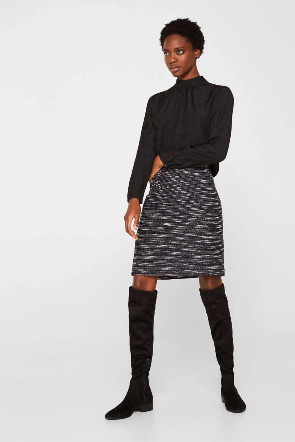 Bi-colour glittering bouclé skirt, BLACK, detail image number 0
