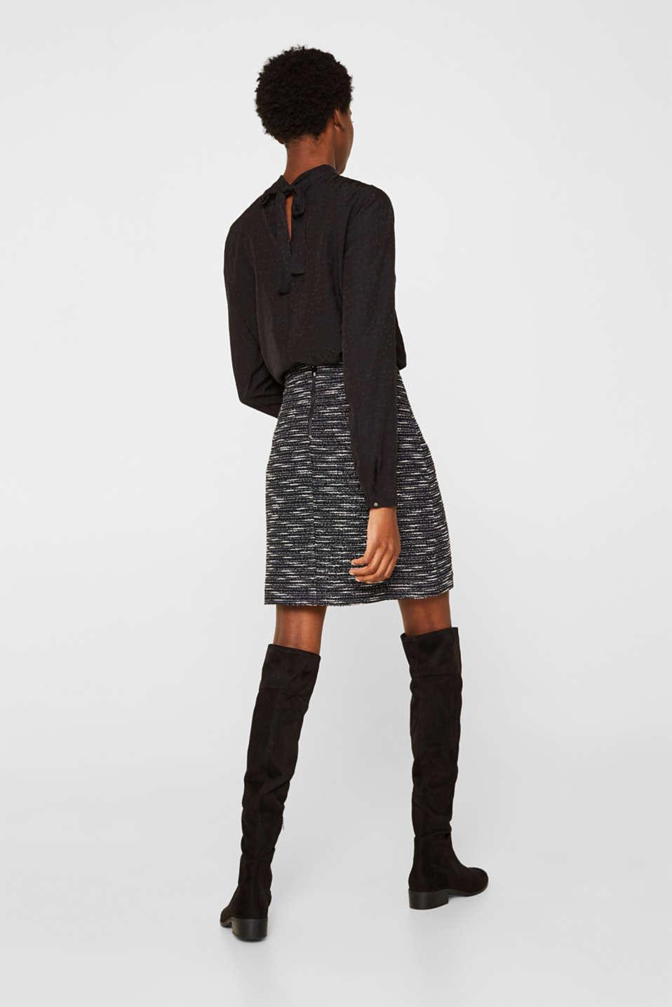 Bi-colour glittering bouclé skirt, BLACK, detail image number 3