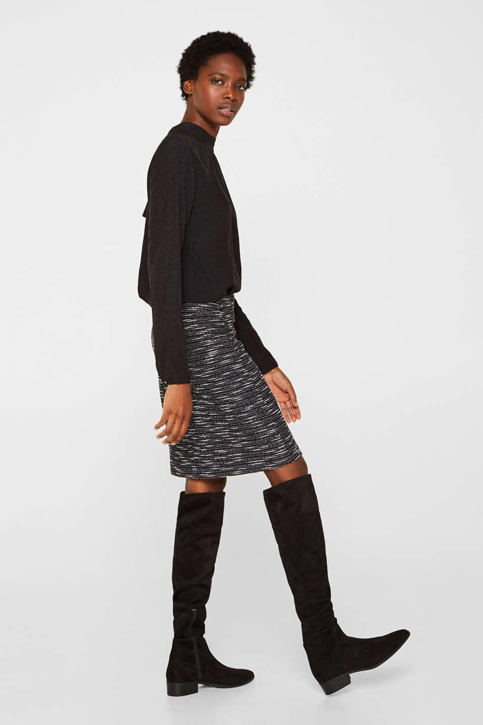 Bi-colour glittering bouclé skirt, BLACK, detail image number 5