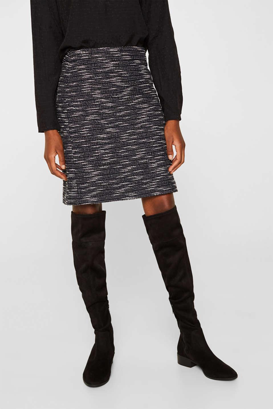 Bi-colour glittering bouclé skirt, BLACK, detail image number 6