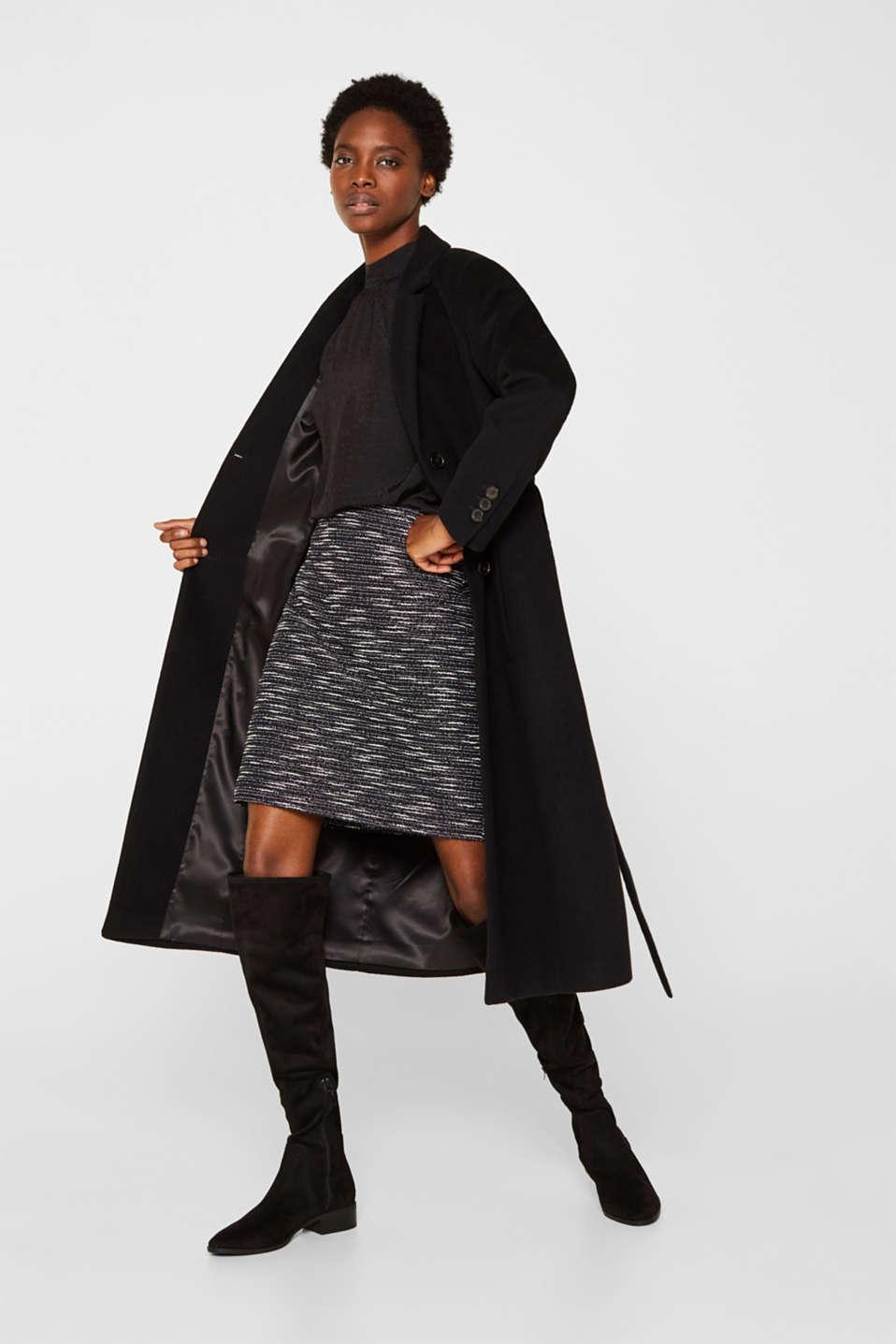 Bi-colour glittering bouclé skirt, BLACK, detail image number 1
