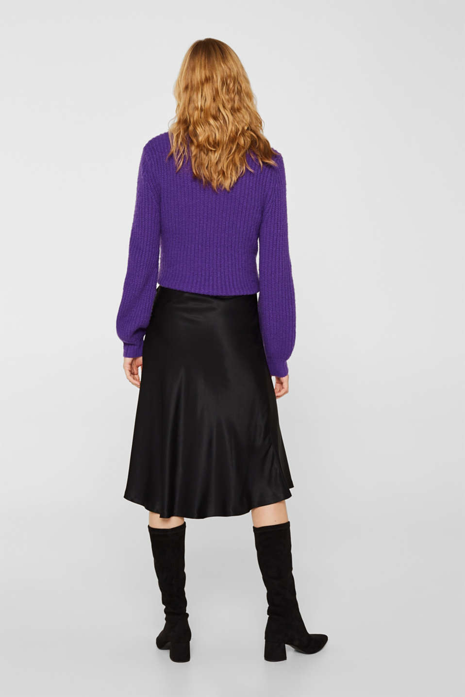 Flared midi skirt in satin, BLACK, detail image number 3