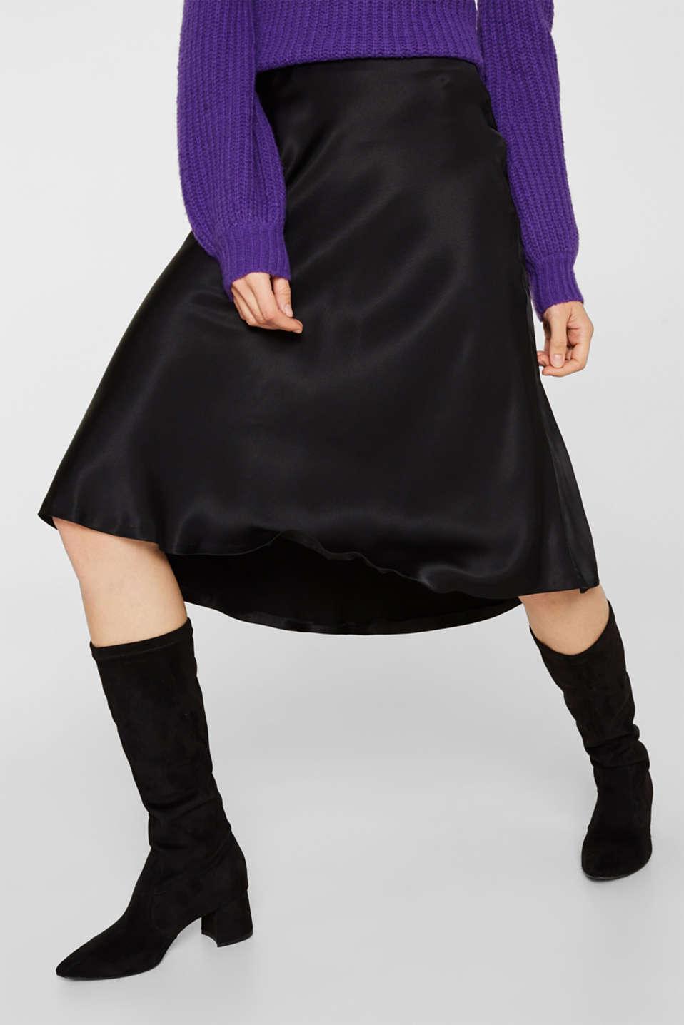 Flared midi skirt in satin, BLACK, detail image number 5