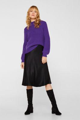 Flared midi skirt in satin, BLACK, detail