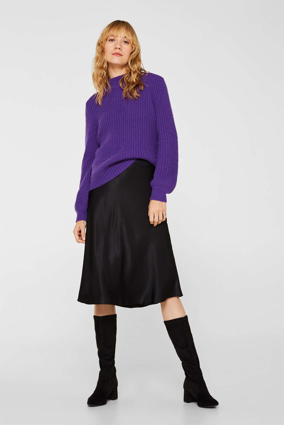 Flared midi skirt in satin, BLACK, detail image number 1