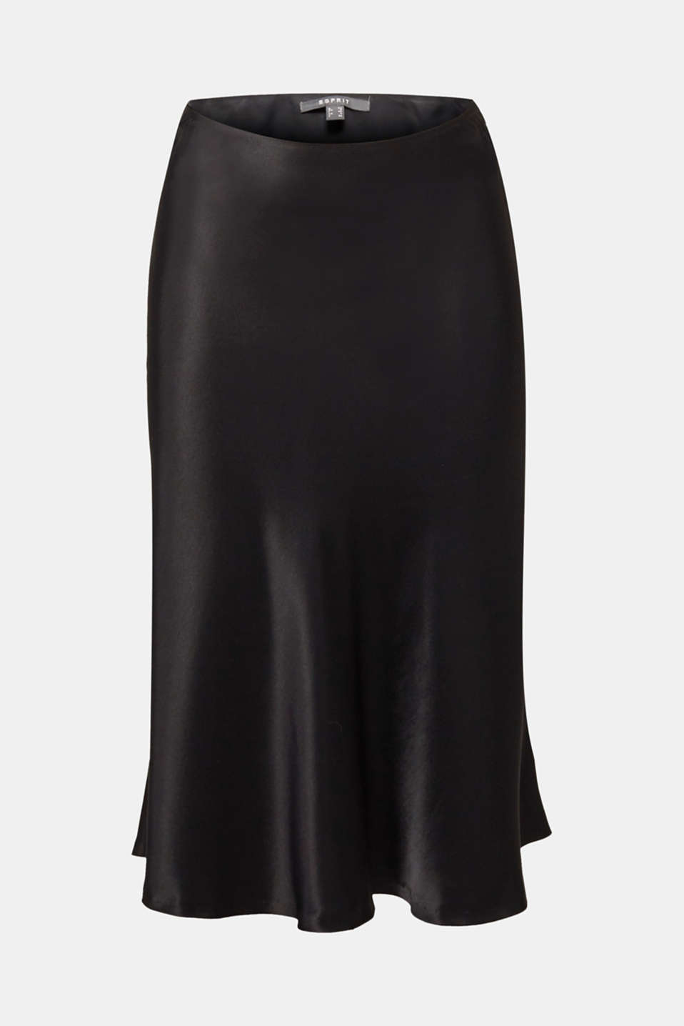 Flared midi skirt in satin, BLACK, detail image number 6