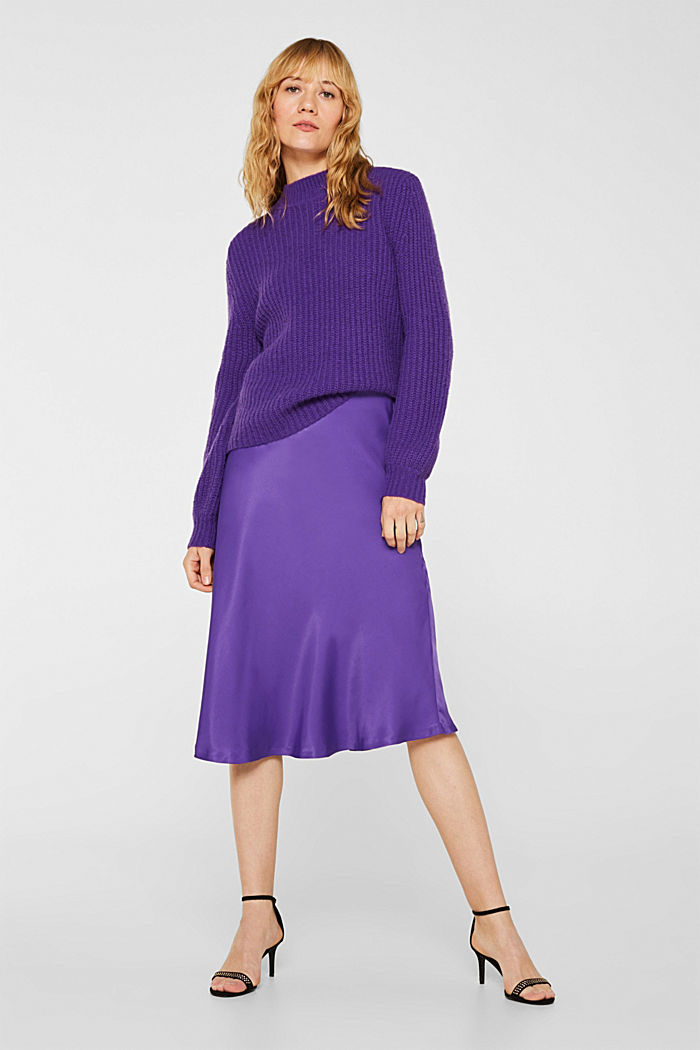 Flared midi skirt in satin, PURPLE, detail image number 0