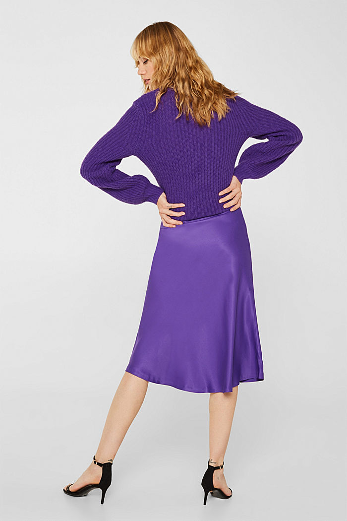 Flared midi skirt in satin, PURPLE, detail image number 3
