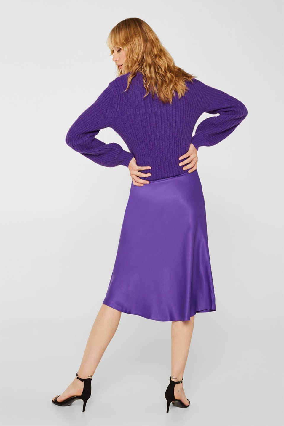 Flared midi skirt in satin, PURPLE, detail image number 3