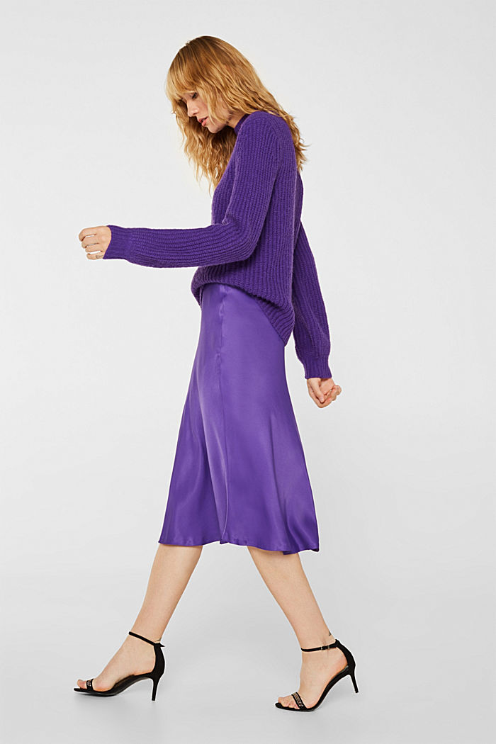 Flared midi skirt in satin, PURPLE, detail image number 5